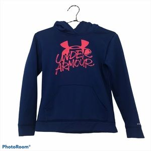 Under Armour blue hoodie with pink decal youth med
